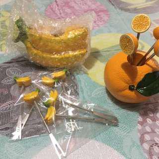 水果香蕉款(加6支义)小食餐具(原價$128)
