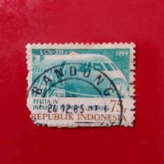 Indonesia Stamp year 1984-Rp 75 Pelita IV Industri Pesawat Terbang CN-235