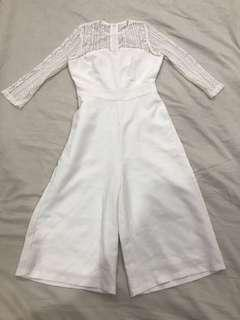 Doublewoot white romper with lace