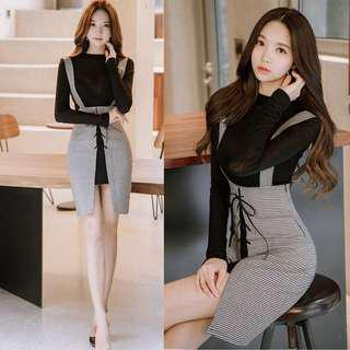 2018 early autumn new women's Korean version of the two-piece fashion suit sexy foreign dress chic early autumn skirt