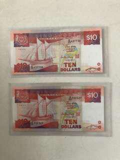 Ship Series $10 note (2 pieces)
