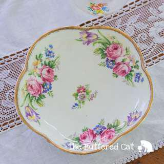 Flower-shaped vintage English china nut dish, small serving dish or bowl