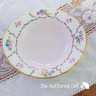 Pretty pink hand-painted vintage small serving dish for fruits and nuts