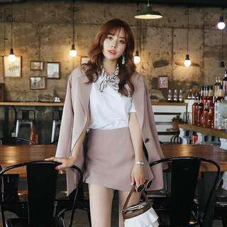 Songsosa 2018 spring and autumn new Korean version of the small suit female long section casual large size simple suit jacket set