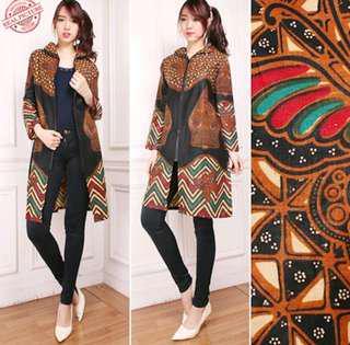 Batik cardigan with zip