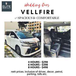 White Vellfire Wedding Car