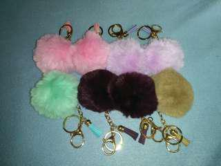 Fur ball with tassel bag keychain (small size)