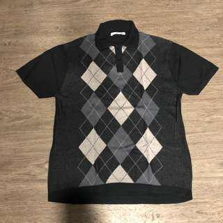Loade Plaid Knit Polos Shirt Black
