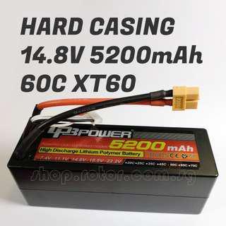 🚚 LPB Hard Casing 14.8V 5200mAh LiPo Battery, 4S, 60C, 4 cells, T Plug, ~138x46x50mm, ~530g. Code: LPB4S60C5200-2