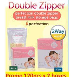 korea perfection 2 rowed double zipper breast milk bag breastmilk