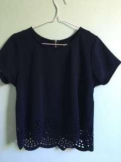 Navy Scallop Top
