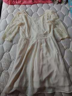 H&M Divided Aztec White Mesh 3/4 Sleeves Dress