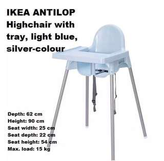 IKEA ANTILOP BLUE HIGH CHAIR WITH TRAY AND SAFETY BELT