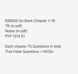 🚚 NTU ES8005 QUESTION BANK + TB + Notes + 1 PYP