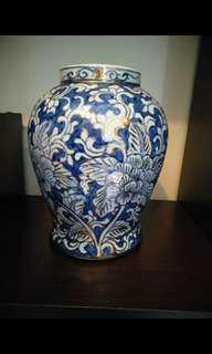 NOW AT 8K ONLY! Rare Hand-Painted Blue and White Ginger Jar with Border-Gilded Peonies