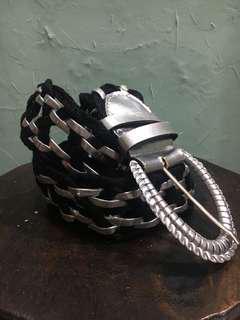 Belt Black Silver / ikat pinggang