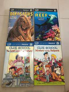 Children educational storybooks with a set of puzzles