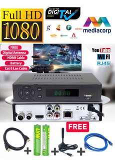 🚚 Prepare For Digital TV All-In-One Package With Build-in Wifi YouTube DVB-T2 Set Up Box For MediaCorp Channels Free Gift Digital Antenna➕Cat 6 Lan Cable ➕HDMI Cable and FREE 2 X AAA Batteries