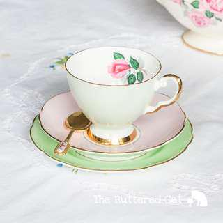 Mix and match vintage English bone china tea trio in pretty pastels