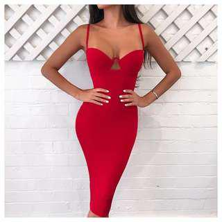 RENTING: Love Nookie Red Flirt Midi Dress XS