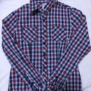 Women's checkered shirt maroon grey