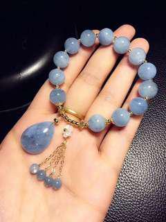 【海藍寶串珠手鍊】天然海藍寶精緻單圈串珠手鍊 手串