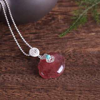 【草莓晶項鍊】天然草莓晶如意鎖項鍊