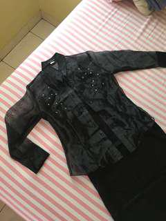 Black Silk Cardigan with Inner ( PREMIUM COLLECTION )
