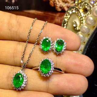 【祖母綠三件式套裝】天然祖母綠戒指 耳環 項鍊 三件式套組