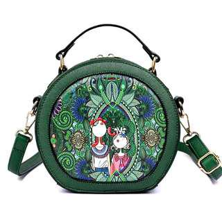 Forest Green Round Bag