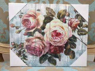 Vintage Romantic Engish Country Rose Print Canvas