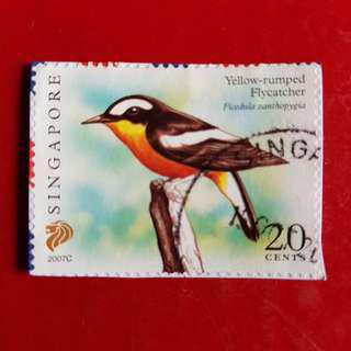 Singapore Stamp/Yellow-Rumped Flycatcher