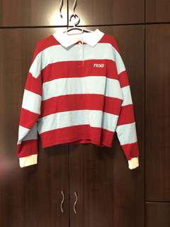 [2 FOR $14] red and blue stripes polo sweater