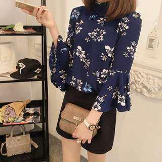 Floral 3/4 Loose Sleeve Blouse