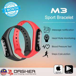 【LATEST】Q-Sports M3 Smart Band OLED IP67 Waterproof Wristband Heart Rate Blood Pressure Tracker Message Notification Budget Smartwatch