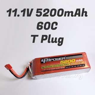 LPB 11.1V 5200mAh LiPo Battery, 3S, 60C, 3 cells, T Plug, ~147x50x29mm, ~430g. Code: LPB3S60C5200