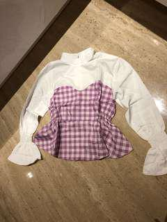 NEW purple checkered blouse