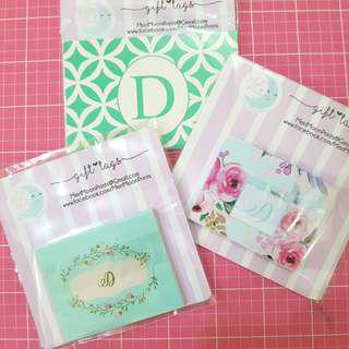 Folded gift tags - letter D