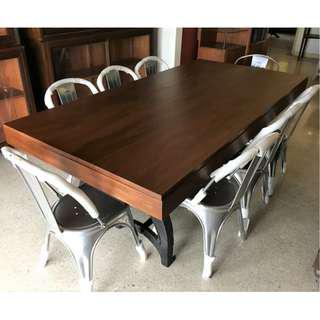 Industrial Cast Iron Legs 7 ft Long Dining Table and Chairs