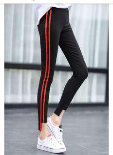 Red Stripes Black Leggings Stretchable
