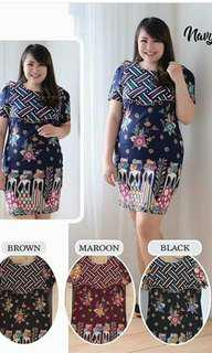 Dress Batik Big Size Marun
