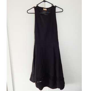 Beginning Boutique Angel Biba Black Mesh Panels Knee Length Dress Size 8