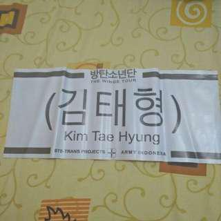 V bts banner from wings tour