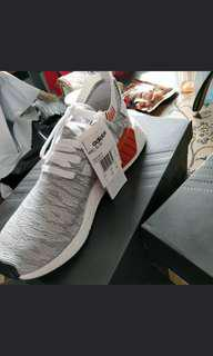 🚚 Adidas NMD R2 Primeknit Limited Edition Shoes white grey