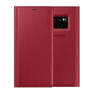 •BN• Samsung Leather Wallet Cover Galaxy Note 9 Red