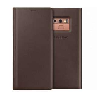 •BN• Samsung Leather Wallet Cover Galaxy Note 9 Brown