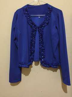 Jaket outer atasan crop warna biru benhur - L