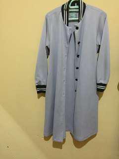 Outer jaket hijabchic warna abu muda tebal XXL