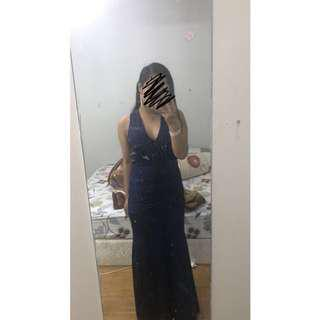 Navy Blue Backless Formal Dress