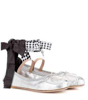 Miumiu silver ballerinas